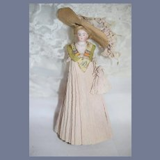 Antique Doll Miniature All Bisque  Fancy Crepe Clothing W/ Large Ornate Bonnet Dollhouse