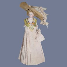 Antique Doll Miniature All Bisque  Fancy Crepe Clothing W/ Large Ornate Bonnet Dollhouse