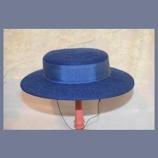Beautiful Vintage Doll Hat W/ Wide Brim Wool & Bow Bonnet