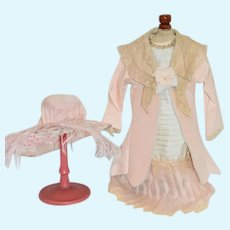Vintage Doll Dress Jacket and Matching Bonnet w/ Feather Dee -Lua Designs Artist Fashion