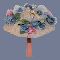 Old Straw Doll Bonnet Hat Flowers Netting
