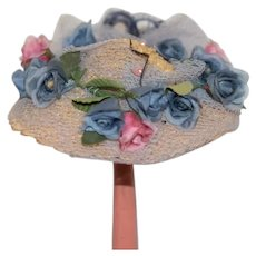 Old Straw Doll Bonnet Hat Flowers Netting