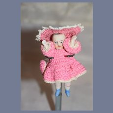 Antique Doll All Bisque Nicely Dressed Jointed Dollhouse Miniature