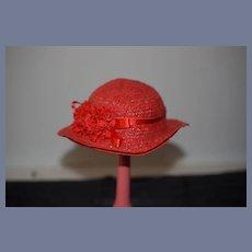 Vintage Doll Straw Bonnet Hat Janice Custom Milliner Red W/ Flowers
