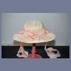 Vintage Doll Bonnet High Brim Flowers Lace