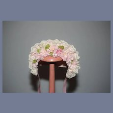 Vintage Doll Bonnet Janice By Custom Milliner Pink Petite Sweet