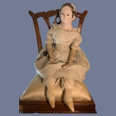 """1850's Antique Doll Pre Greiner Glass Eye Paper Mache 23"""""""