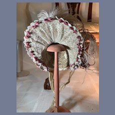 Wonderful Fancy Straw Doll Bonnet Hat High Brim Flowers Feathers Lace French Market