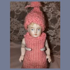 Antique All Bisque Jointed Doll W/ Miniature Dollhouse