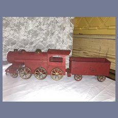 Antique Pressed Steel Hill Climber Train & Tender Friction Toy