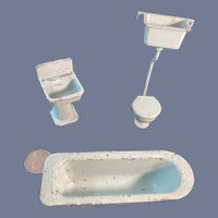 Old English Miniature Doll Dollhouse Painted Bathroom Set Sink Toilet Tub Metal