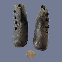 Sweet Antique Leather Doll Button Up Boots