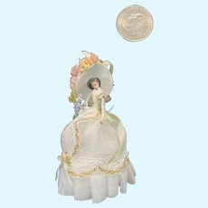 Vintage Miniature Doll Artist Dollhouse M*R M&R Fancy Lady Doll
