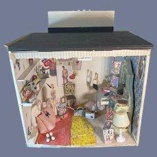 Vintage Doll Miniature Room Artist Made Unusual Teenage Diorama