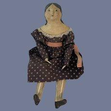 VIntage Artist Oil Cloth Doll Signed Carole F. 1996 Wonderful Folk Art