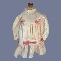 Vintage Sweet Doll Dress Embroidery Lace Drop Waist