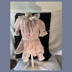 Old Doll Dress W/ Lace Trim W/ Ties