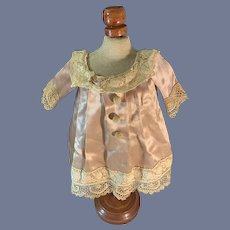 Old Doll Dress Satin Crochet Buttons Lace Trim