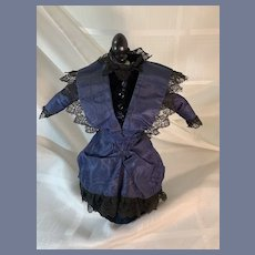 Old Doll Dress Fashion Doll Petite W/ Bustle Hand Made