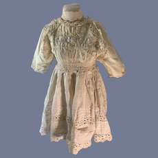 Antique Doll Dress Lace Embroidery Sweet Tie Back