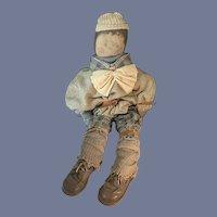"""VIntage Oil Cloth Doll Artist Large Unusual Dressed 31"""" Tall Wonderful Painted Face"""