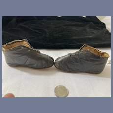 Antique Doll Leather Shoes Lace Up  Wonderful