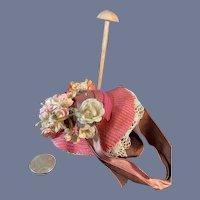 Vintage Doll Bonnet FLowers Bow Lace Petite French Market