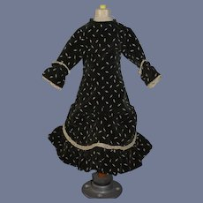 Vintage Doll Fashion Doll Dress  Velvet Two Piece W/ Flowers