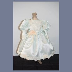 Vintage Satin Lace Doll Dress W/ Beads and Flowers