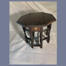 """Fabulous Antique Wood Gate Leg Table Extends W/ Double Sided Drawer Miniature Dollhouse Ornate Fashion Doll Size 5 1/2"""" Tall"""