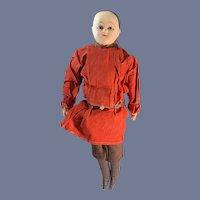 Antique Doll Papier Mache Soldier Boy W/ Costume Glass Eyes