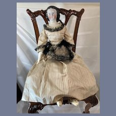 Antique China Head Mary Todd Lincoln W/ Hair Netting Gorgeous Doll Clothes