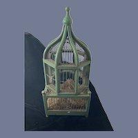 Wonderful Vintage Fancy Bird Cage Painted Wood  & Metal Fancy  Spring Loaded Door W/ Latch Doll Display