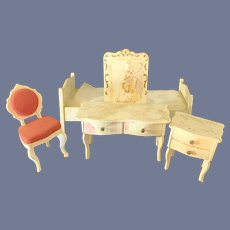 Old Wood Miniature Painted Doll Dollhouse Furniture Bedroom Bed Table Vanity Chair