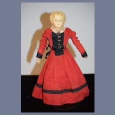 Antique Petite Size Papier Mache Doll W/ Antique Doll Dress