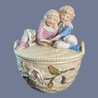Wonderful Victorian Children Piano Babies Piano Baby on Basket Lided Trinket Box Large