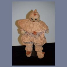 Old Cloth Doll Clown Unusual Stockinette Sewn Features Wonderful Jester
