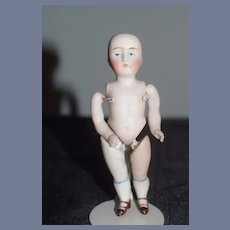 Antique All Bisque Jointed Miniature Doll Dollhouse
