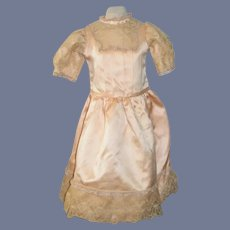 Wonderful Old Doll Dress Satin and Old Lace Sweet French Market
