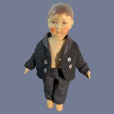 Old Oil Cloth Bing Doll Sweet nicely Dressed Jointed