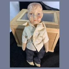 Old Oil Cloth Doll Jointed  Petite Size Sweet
