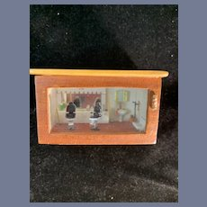 Vintage Wood Miniature Barber Shop Glass Front and Top By Piper Diorama