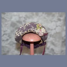Vintage Hand Made Doll Bonnet Lace Flowers Sash Adorable Petite Size