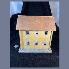 Vintage Wood Doll Faux Dollhouse W/ Old Metal Windows Petite Size