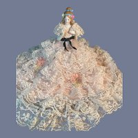 Wonderful Old Half Doll China Head Fancy Lace Skirt Pin Cushion Fancy Hair Arms Away