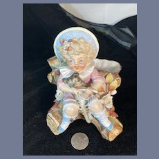 Old Doll Piano Baby Figurine Vase Girl Feeding Cat Sweet Bisque