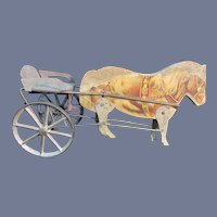 Sweet Old Wood Carved Horse W/ Metal Wheels and Wagon Miniature Dollhouse Doll Litho Tin