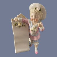 Antique Doll Figurine Piano Baby Wonderful W/ Long Scroll
