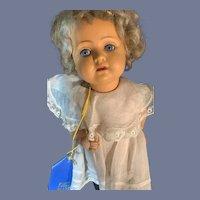 Old Gorgeous Celluloid Doll Schutz Sweet German Original Factory Dress First Place Ribbon