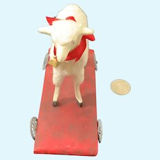 Vintage Artist Miniature Lamb on Wood Base W/ Wheels Pull Toy Joyce Justus 1991 Toying With Dolls